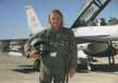 Tim King, shown here just before flying in an Air Force F-16 jet fighter