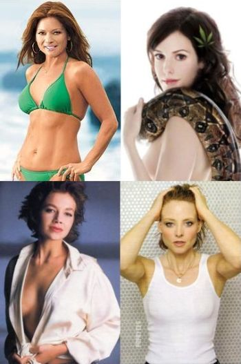 Clockwise from bottom left; Justine Bateman, Valerie Bertinelli, Mary Louise Parker and Jody Foster.