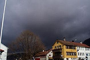 Volcanic ash clouds over Bergen, Norway on 15 April 2010, following the eruption of Eyjafjallajökull, a volcano in Iceland