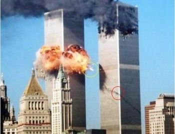 Twin Towers after being struck