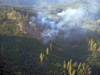 Steeple Rock Fires - A view from helicopter of the fires around Steeple Rock.  Credit: Chad Calderwood