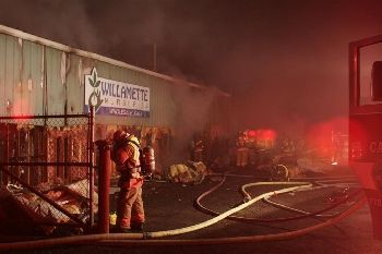 Fire at Canby Nursery in Oregon