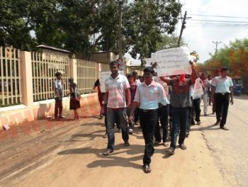 Students protesting at Jaffna University