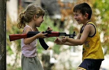 children with toy gun