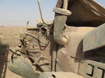 Military truck in Iraq that was struck and destroyed by a roadside bomb