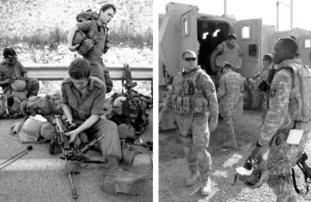 Israeli soldiers in Lebanon, 2006 at left; photo by Dexter Phoenix, and U.S. soldiers in Iraq, 2008; photo by Tim King.