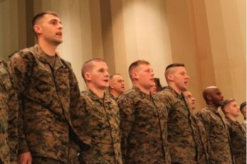 Marines from Wounded Warior Project singing Marine Hymn
