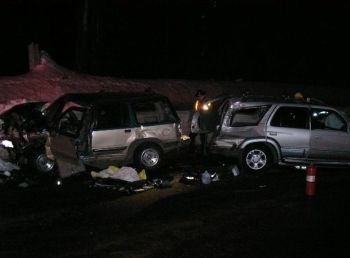 2 vehicle crash on Highway 140W about thirty miles west of Klamath Falls near Lake of the Woods in Oregon, 2-14-08