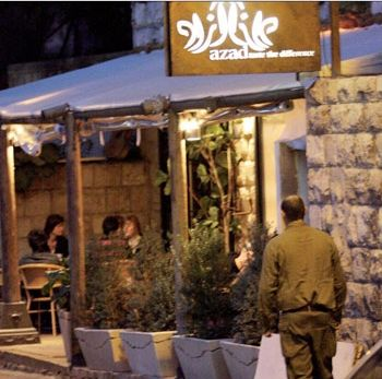 The restaurant Azad's on Hillel Street in Haifa.