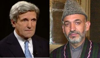 John Kerry and Hamid Karzai