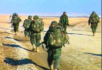 Afghan soldiers on maneuvers in 2007 near Kabul