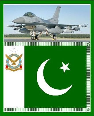 An Pakistan Air Force F-16 and their country's flag