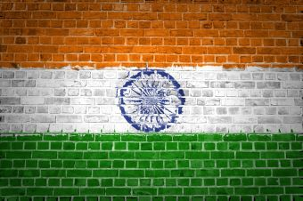 Flag of India painted on brick wall