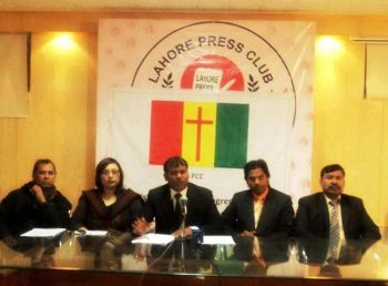 In picture:  Mushtaq Gill Advocate (center) President Pakistan Christian Congress PCC Lahore and other PCC leaders' in a press conference in Lahore Press Club