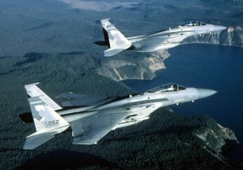 Pair of Air Force F-15s in flight