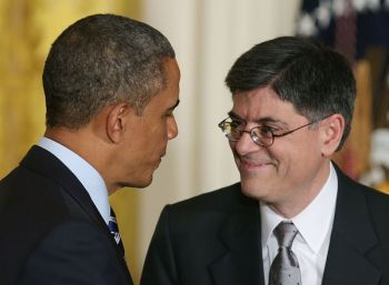 President Barack Obama shakes hands with Jack Lew after his nomination