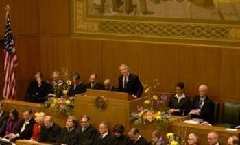 Gov. John Kitzhaber delivers his state of the state address Monday in Salem.