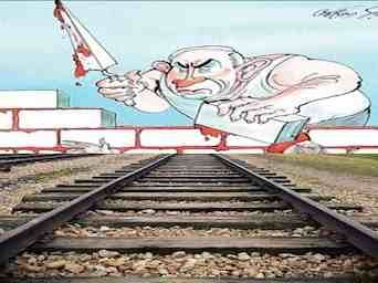 Gerald Scarfe cartoon depicting Israeli PM Benjamin Netanyahu building a brick wall containing the blood and limbs of Palestinians