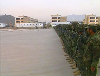 Afghan National Army recruits lined up on the parade deck for a Vice Presidential visit