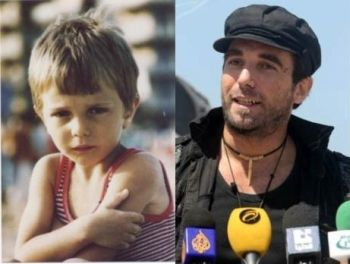 Vittorio Arrigono as a child in Italy, and shortly before his death in Gaza.