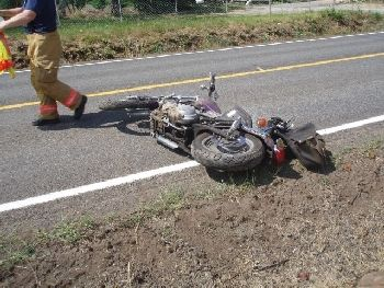 Harley Davidson motorcycle ridden by 42-year old Kevin Kenville who died in the crash 7-25-09 near Oregon City