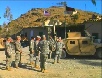 Oregon Guard soldiers from the 41st Combat Brigade Team at a remote combat base in Afghanistan