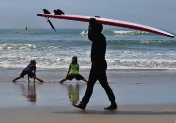 Otter Rock and Roll kid's surfing contest in Newport, Oregon