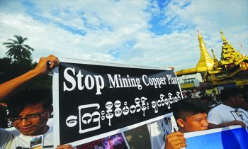 Protest against the Letpadaung copper mine project in Burma.