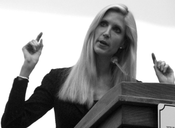 Ann Coulter in black and white