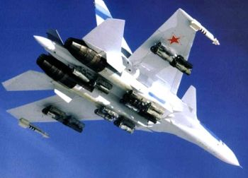 Russian SU-30 jet fighter in flight