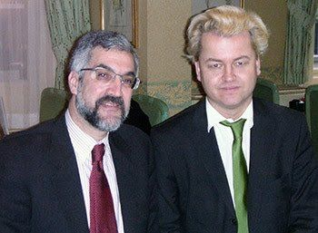 Daniel Pipes (left) shares a photo with Geert Wilders, his PNAC's