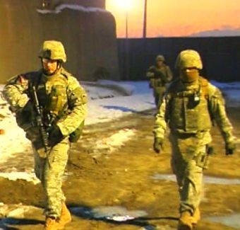American soldiers from the Oregon National Guard on a night patrol in Kabul, Afghanistan.