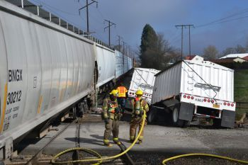 Train vs truck at Brooks, Oregon
