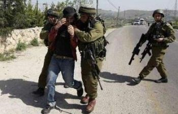 Israeli troops detain an international peace activist during a protest over land confiscation in Beit Ummar village near Hebron