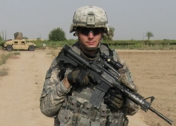 U.S. soldier on patrol in Iraq