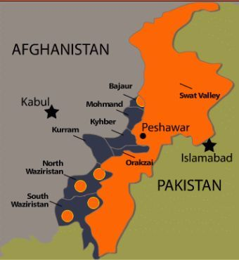 Map showing Pakistan and Afghanistan