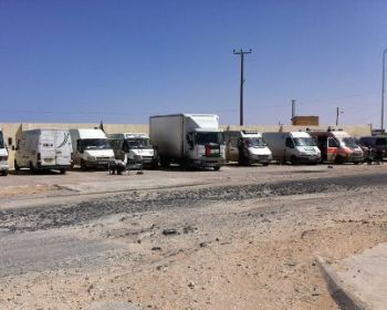 Convoy vehicles stranded in Libya. Photo courtesy: Facebook page for All United for Palestine.