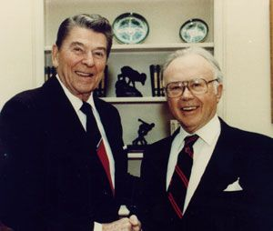 Former President Ronald Reagan and Russel Kirk