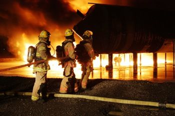Firefighters training on jet fuel fires
