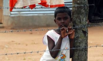 Tamil boy in a refugee camp.