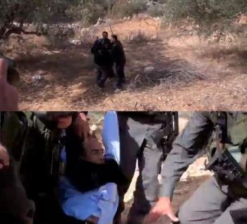 Top: Mustaffa arrested by soldiers, bottom: Mazin being arrested by several members of the IOF.