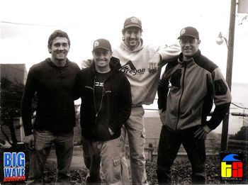 Greg Long with/ PNW Crew Eric Akiskalian, Keith Gailbraith and Shawn Thordarson - Photo: Tyler Roemer 11-05-12 TowSurfer.com