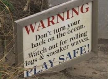 Beach safety warning sign