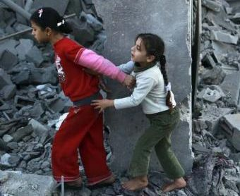 Little girls in Gaza where numerous children have already been killed by Israel today.