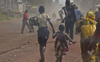 Civilians fleeing the violence in Goma