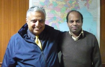Rajan Zed (left) with Fr. Jose Vattakuzhy at Catholic Bishops' Conference of India