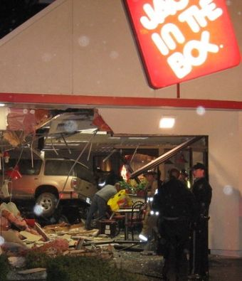 Vehicle in police chase that crashed into Jack in the Box, Portland Oregon Thanksgiving Day 2008