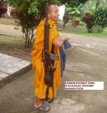 Armed Buddhist monk combatant in Burma