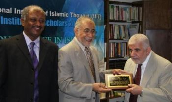 Left to right, Abubaker al-Shingieti, Executive Director of the International Institute of Islamic Thought and Board member, Hartford Seminary; Jamal Barzinji, Vice President of IIIT; and Professor Mahmoud Ayoub