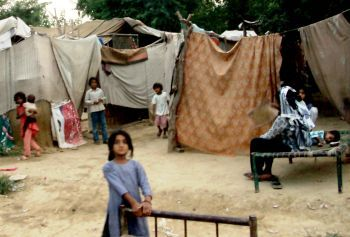 Displaced villagers in Pakistan